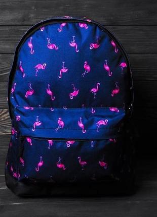 Рюкзак с принтом фламинго портфель с отделением для ноутбука / тетрадок синий женский / мужской