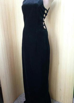 Английское винтажное чёрное вечернее длинное платье в пол  с воротником  john charles m/l