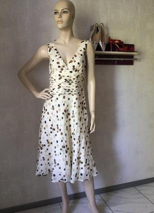 Платье сарафан кремовое в горох горошек silk шелк zara 38 миди