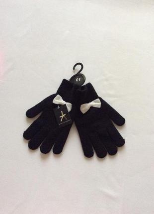 Стильные перчатки с бантиком
