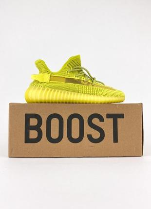 Стильные женские кроссовки демисезонные adidas yeezy boost 350 желтые текстильные адидас