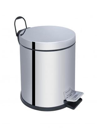 Ведро для мусора с педалью объемом 5л хром. мусорные ведра