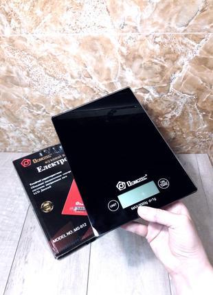 Весы кухонные сенсорные domotec до 5кг черное стекло