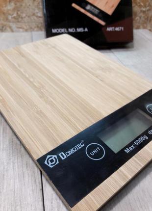 Весы кухонные сенсорные domotec от 1г до 5кг деревянная основа