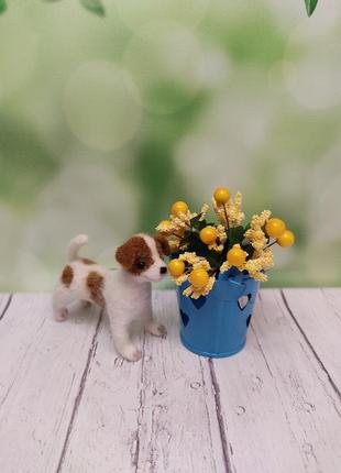 Сувенир собака джек рассел терьер. фигурка собаки. маленькая собачка. собака валяная