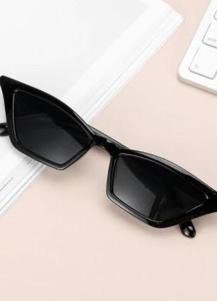 Очки окуляри черные темные солнцезащитные кошачий глаз кошки лисички cat eye