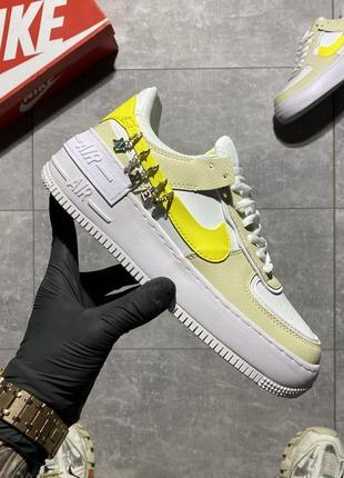 Женские стильные кроссовки nike air force shadow🆕найк аир форс шадоу🆕бежевые с желтым