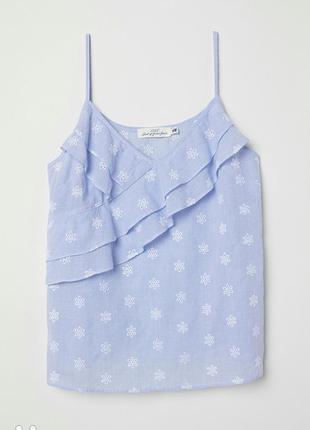 Топ/майка/блуза на бретелях h&m с воланами и вышивкой в мелкую полоску хлопок