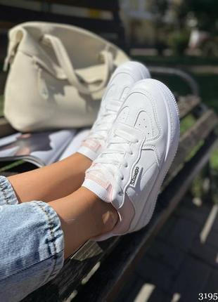 Новинка 🍃 женские белые кроссовки с розовыми вставками 3195