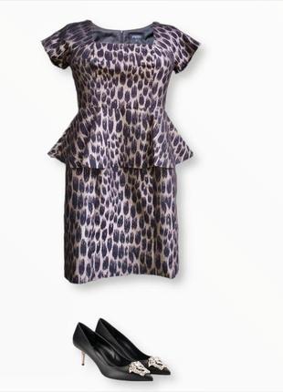 Стильное платье с баской анималистический принт papaya