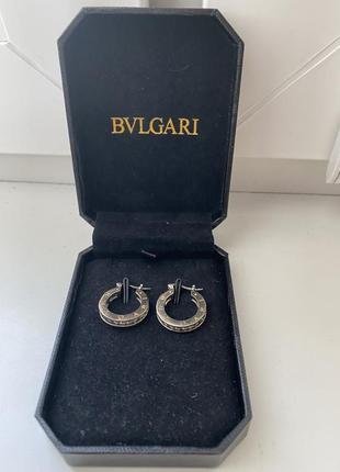 Серебряные серьги bvlgari с золотым покрытием