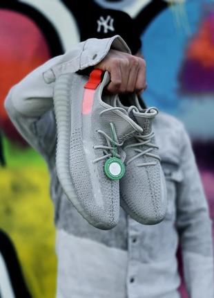 Стильные женские кроссовки демисезонные adidas yeezy 350 серые текстильные адидас