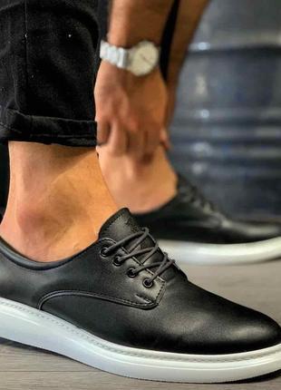 Мужские туфли кроссовки черные на белой подошве