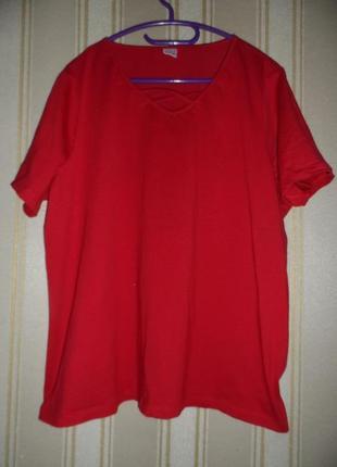 Женская футболка бордово красная размер 50 // 5xl хлопок