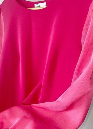 Малиновое прямое свободное мини платье с шифонывыми рукавами