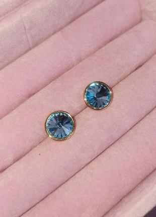 Серьги гвоздики пуссеты с кристаллами сваровски