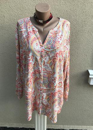 Блузка,рубаха в принт огурцы(этно),большой размер,100% вискоза