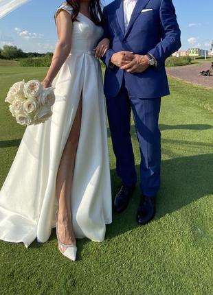 Атласное свадебное платье, франция