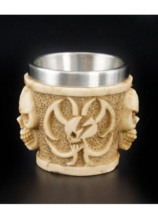 Стопка рюмка череп из полистоуна и стали + подарок