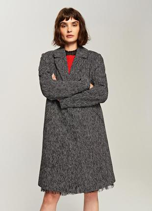 Xs-xl темно  серое длинное пальто пиджак  демисезонное 10% шерсть теплое