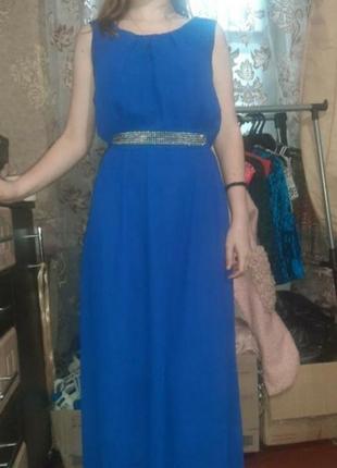 Вечернее выпускное платье в пол с поясом