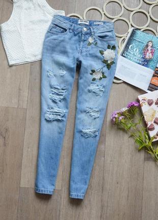 Вишиті джинси-бойфренди tally weijl, завужені із гарними рваностями