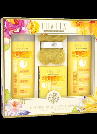 Набор для ванной thalia propolis (шампунь, гель, мыло, мочалка) юнайс