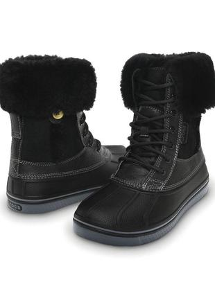 Ботинки crocs allcast luxe duck boot, наш 36 р. оригинал, кожа, кожаные, крокс