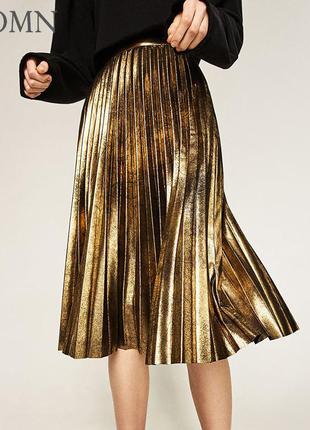 Стильная,нарядная,плессированная/плиссе,кожаная,металлизированная юбка,испания,m-l