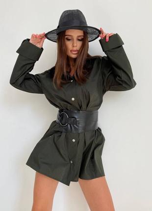 Женское короткое платье рубашка