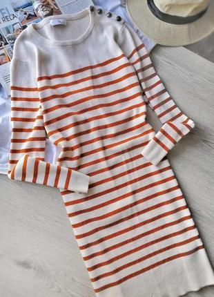 Стильное яркое трикотажное платье в полоску