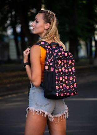 Рюкзак чёрный с принтом instagram