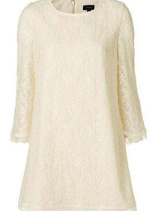 Кружевне платье кремового кольору трапеція  topshop