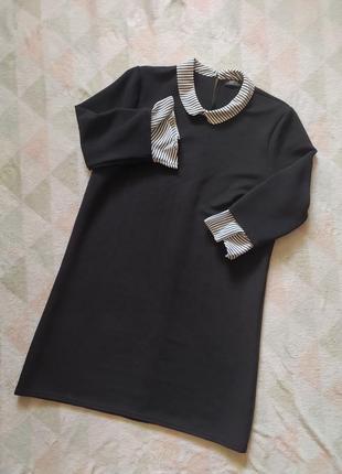 Платье прямое свободное официальное строгое черное с белым полосатым воротником официальное офисное