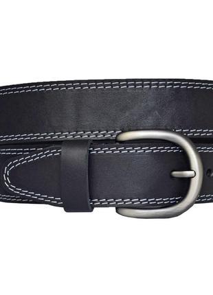 Кожаный женский ремень черный прошитый белой строчкой для джинсов galla