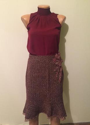 Комплект -юбка и блуза винного цвета.