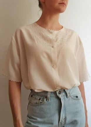 100% натуральный шелк шелковая воздушная блуза с перфорацией и ручной вышивкой винтаж