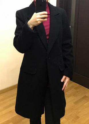 Черное шерстяное пальто бойфренд forever21 демисезонное boyfriend