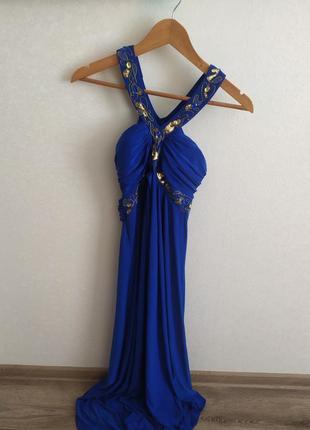 Синее вечернее платье разлетайка seam