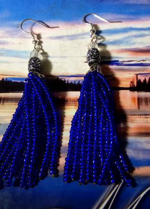 Роскошные модные синие серьги