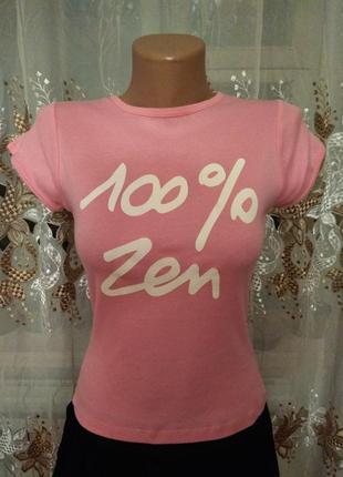 Розовая футболка 100% zen