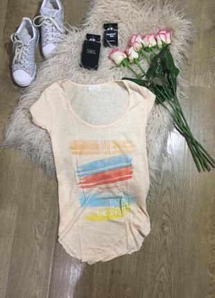 Удлиненная футболка персикового цвета\приятная к телу zara