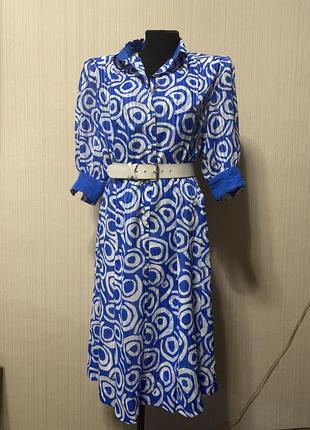 Синие платья миди в принт белый ретро винтаж