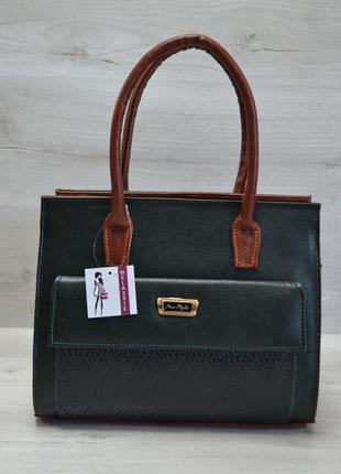 Зеленая деловая сумка саквояж с коричневыми вставками и накладным карманом