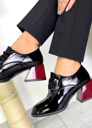 От производителя! 36-40 рр туфли, ботинки низкий каблук на шнурках натуральный лак