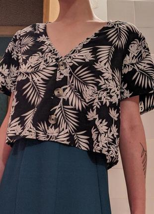 Блуза оверсайз new look с растительным принтом