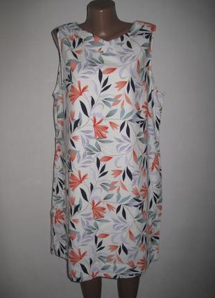 Льняное платье спенсер принт листья р-р20