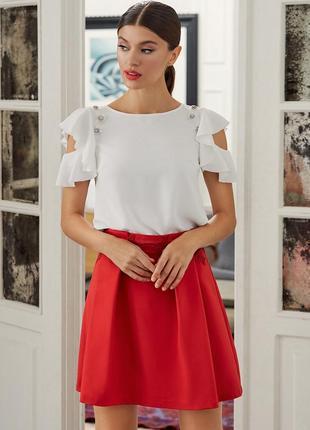Шикарная яркая плиссированная красная миди юбка с цветочной вышивкой в стиле 50х