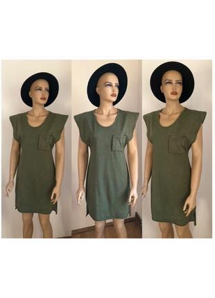 Платье цвета хаки длинная футболка