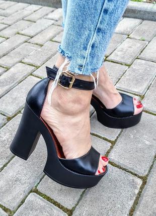 Туфли босоножки р36-40 на высоком каблуке чорные босоніжки туфлі на високих підборах чорні